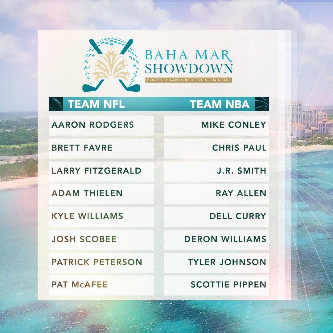Team NBA & Team NFL tee off in the #BahaMarShowdown! Who ya got? ⛳️👀  @TheShowdownGolf - 3pm ET on CBS 📺