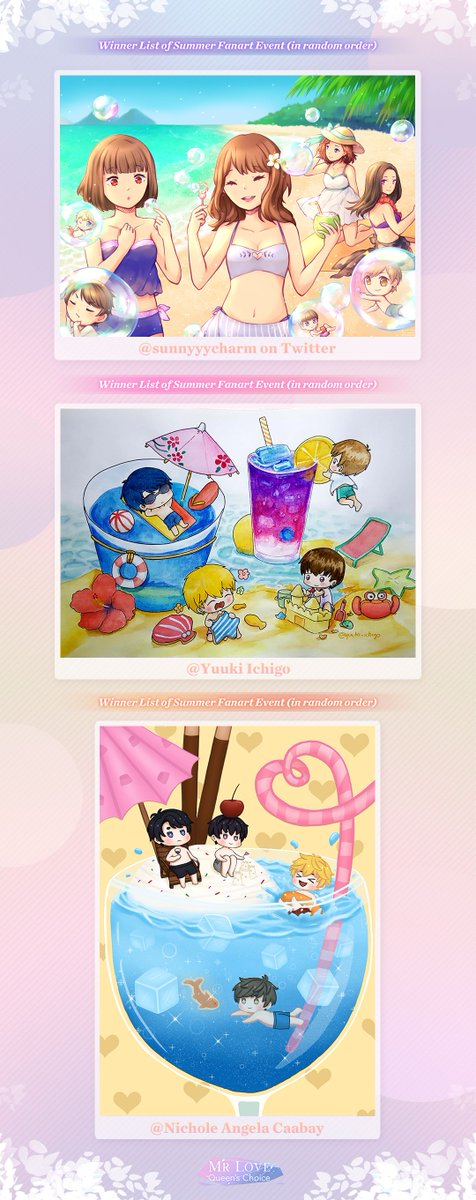 🏖️Happy summer days! Winner list of #summer themed fan-art event is OUT.🎉Congratulations on 10 winning producers! 💕Thanks for your participation, login & check your rewards in Mailbox!Follow us & read more details including the fan-art rewards: https://facebook.com/MrLoveGame