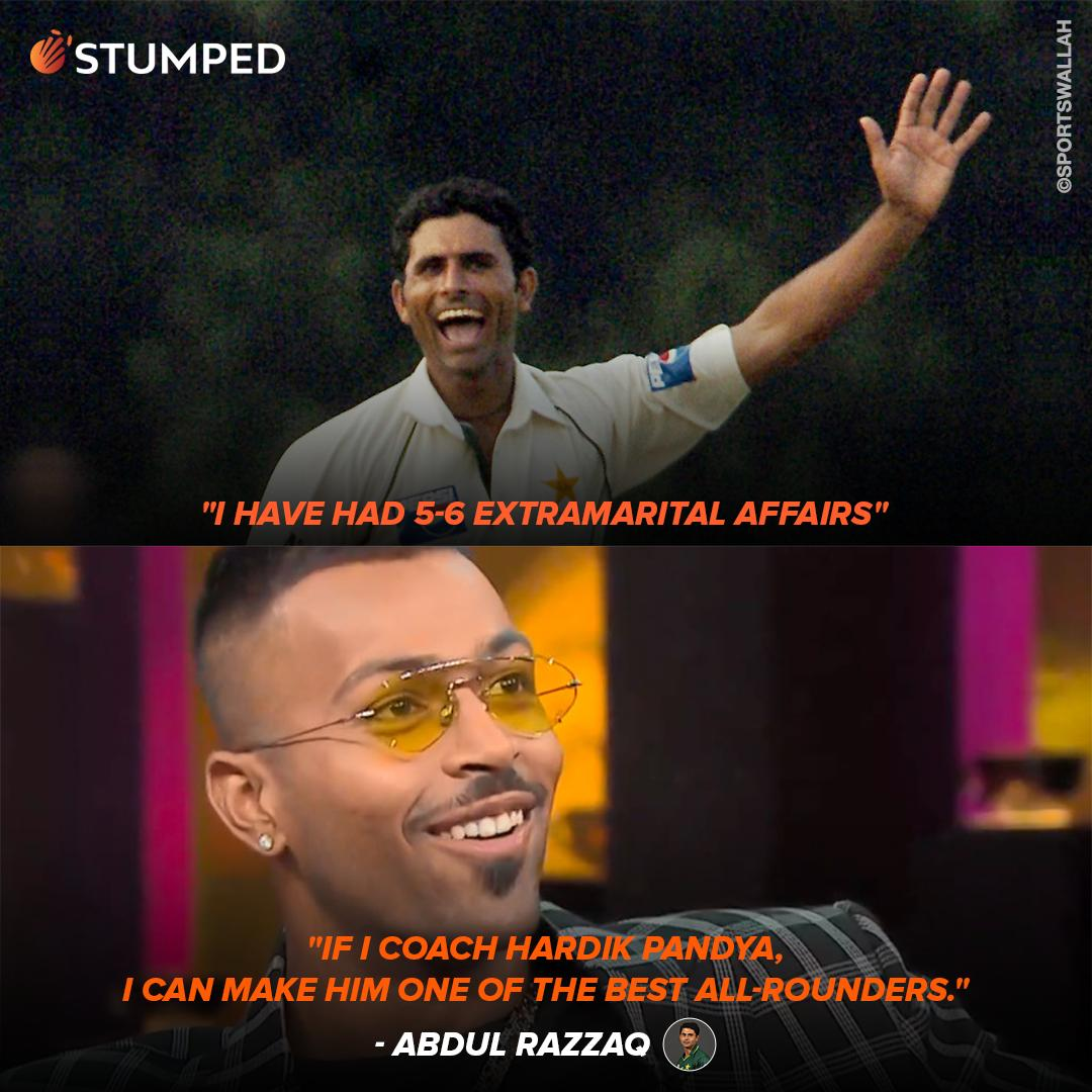 Hardik Pandya must be feeling privileged after receiving an invite to learn from an experienced pro 😉   #HardikPandya #AbdulRazzaq #TeamIndia #PakistanCricket #INDvPAK @hardikpandya7