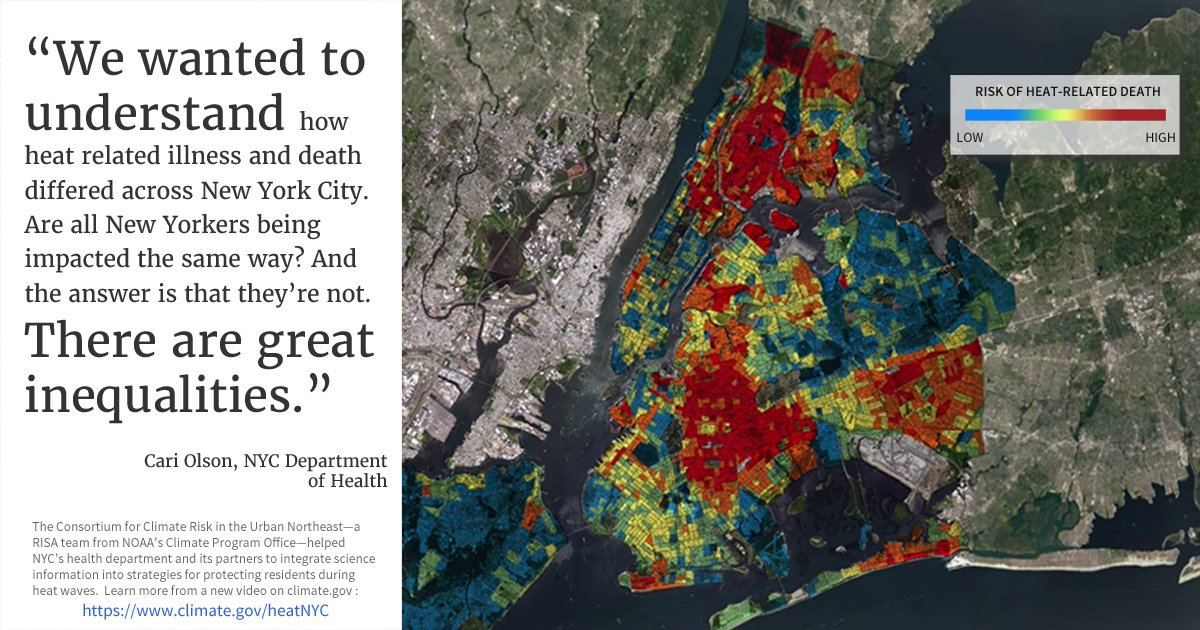 Come see how NOAAs Climate Program Office is working with New York City to help identify neighborhoods at greatest risk from extreme heat. climate.gov/heatNYC
