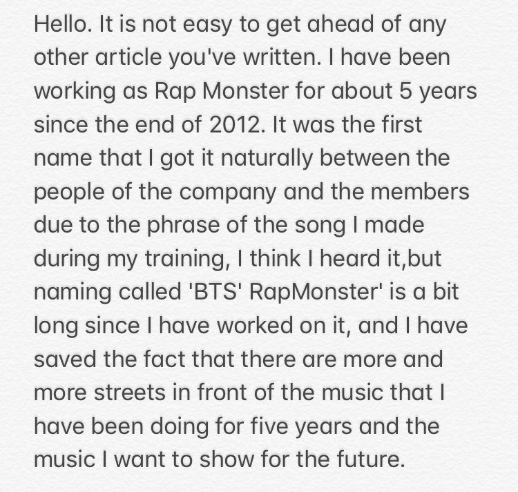 Namjoon officially announced his new stage name and said RM fits more to his music direction and has a wider spectrum. All names he has chosen makes up a part in his identity #RM<br>http://pic.twitter.com/rpHwcJClSI