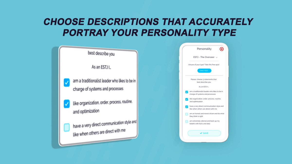 What do you think of this app feature? You get 10 descriptions according to your type and can pick your favorite 3 to post on your profile in addition to other bio fields. #mbti #estj #estp #entj #enfj #esfj #esfp #Entp #enfp #istj #istp #INTJ #infj #isfj #isfp #intp #infp