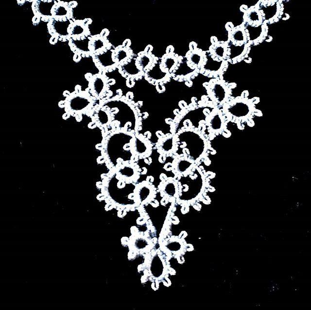 Tatted grey cotton necklace by TatsRight. + +  #tattedjewellery #tatting #tatted #frivolite #chiacchierino #orkis #occhi #frywolitka #schiffchenarbeit #victorian #lace #tattedlace #shophandmadeuk #shopindie #shopsmall #statementnecklace #handmade #tatsri…