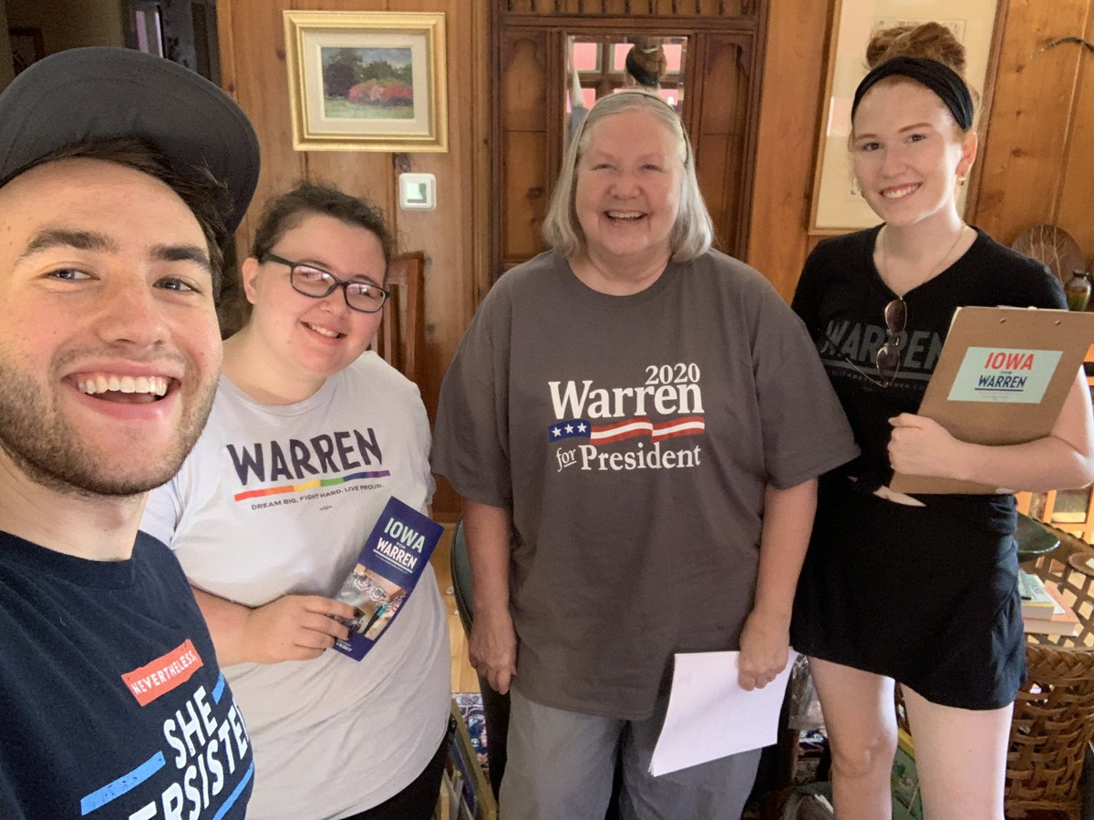 Our morning shift #Warren4Warren team has some homemade shirts and tons of spirit!  Conquering our canvasses with aplomb   <br>http://pic.twitter.com/CkoPfyHi6O – à Moats Park