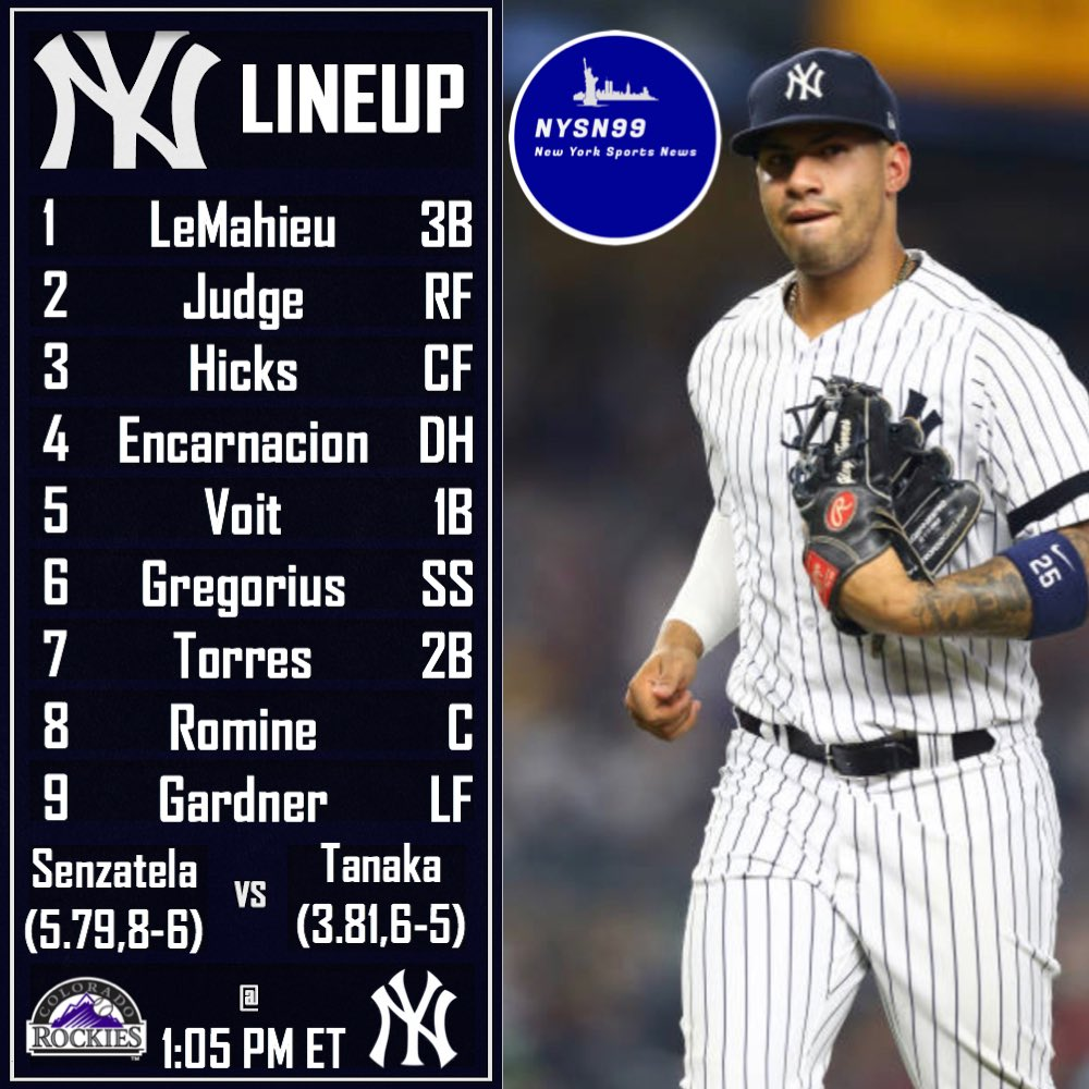 The Yankees take on the Rockies today at 1:05 looking to build off yesterday's win! #letsgoyankees #yankees