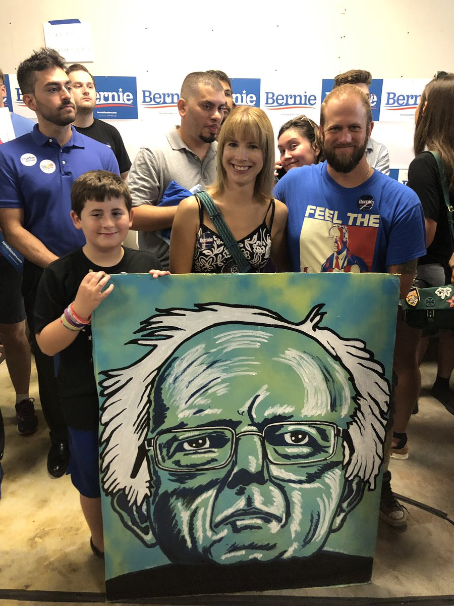 Council Bluffs #BernieSanders2020 office is PACKED with close to 300 people! Shoutout to this amazing local artist Matthew Nolde for this incredible piece! #iacaucus #feelthebern #iapolitics<br>http://pic.twitter.com/e9Yc59hZv9