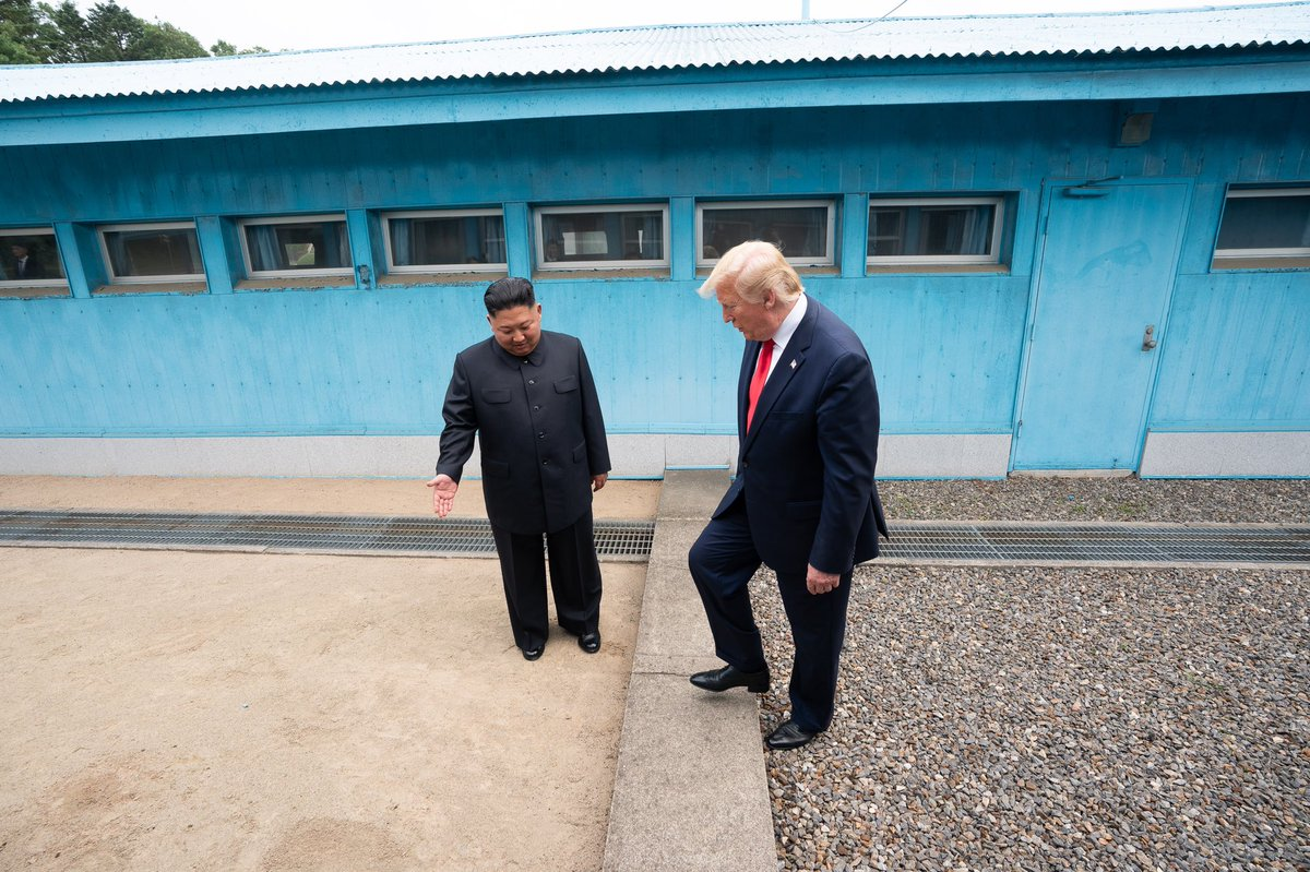 """""""One very small step for a diminutive Nork dictator... one giant leap for that kind of man (w/#BoneSpurs) who would rape a child. Or lock #KidsInCages. Mock ppl w/disabilities. Or brag about grabbing women by their 🐈 s."""