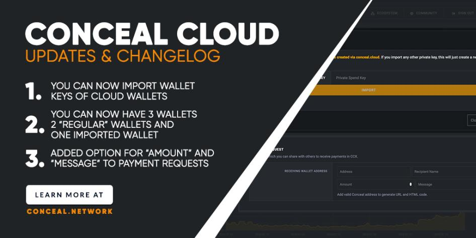 We are happy to announce the changes & updates for Conceal Cloud! $CCX #privacymatters #cloud #decentralization