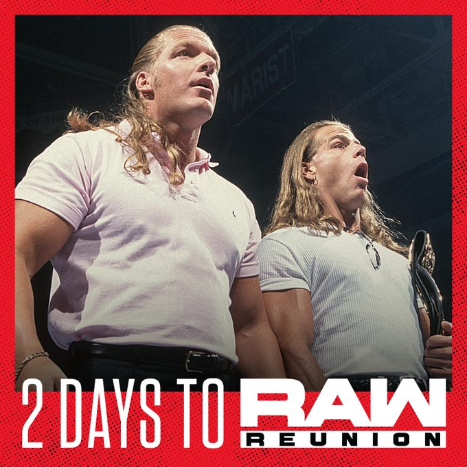 Are you ready?  We know THEY are. #RAWReunion @TripleH @ShawnMichaels @WWERoadDogg @TheRealXPac