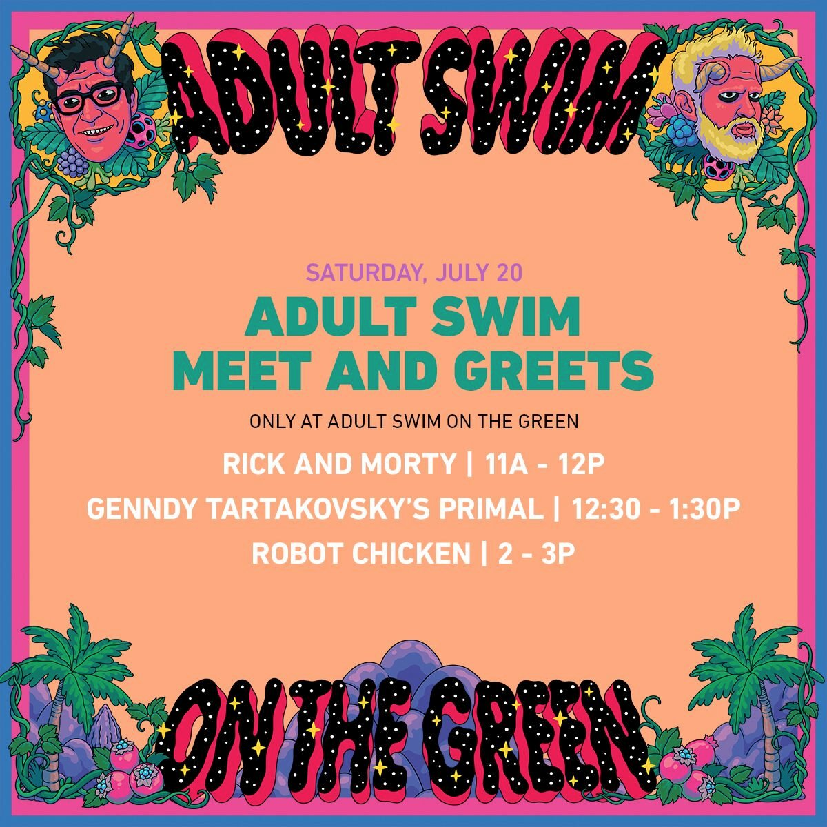 The final day has arrived! #AdultSwim on the Green opens at 12pm PST. The #Rickflector opens at 9:30am PST. Stream it all from home starting at 4pm PST. adultswim.com/streams #SDCC