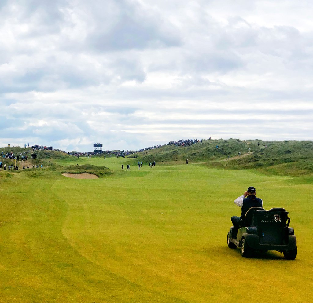 Not on the clock but the last group being watched. @theopen