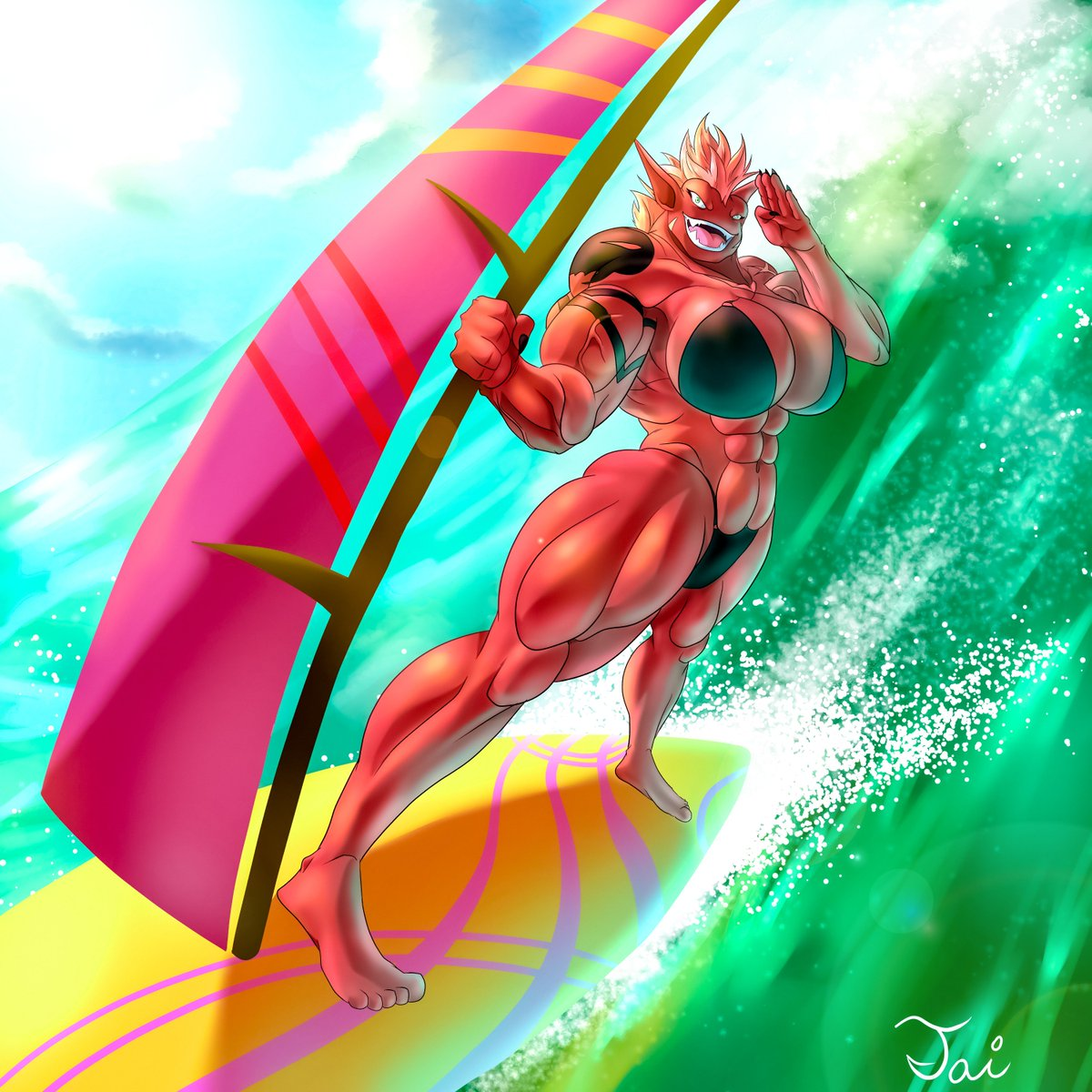 Rica surfboarding in the water. My first time illustrating surfing as well as waves. Turns out to be a bit easier than I thought. #summer