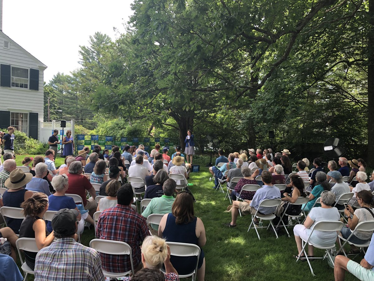 OK it is hot 🥵 in New Hampshire just like everywhere else, but still tons of people at our house party in Concord. Thanks former Senate President Sylvia ⁦@SenatorLarsen⁩ & Bob for hosting & keeping us as cool 😎 as possible in the backyard!