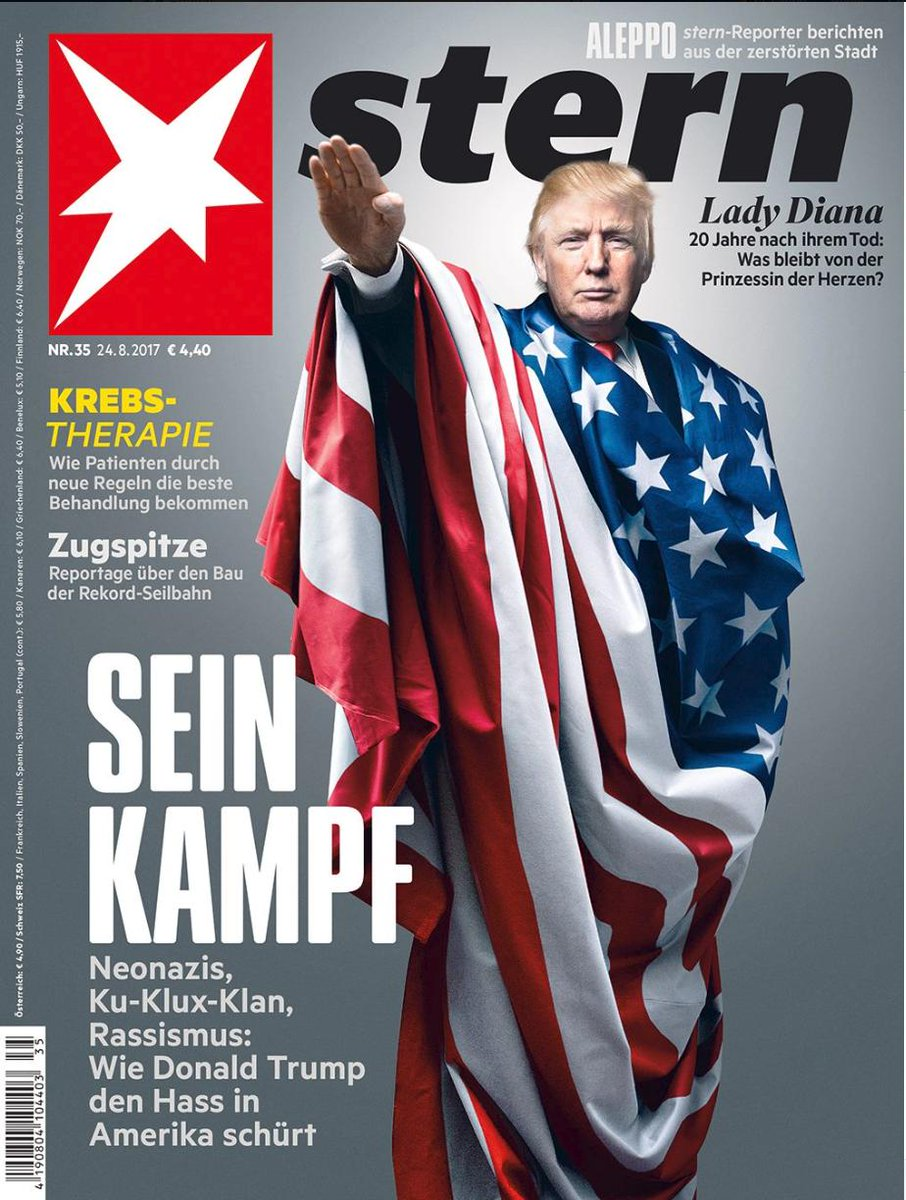 "Germans know fascism when they see it. Today the nation's top magazine, Stern, declares @POTUS @realDonaldTrump a Nazi. Yesterday Chancellor Angela Merkel came to the defense of US Congress ""Squad."" https://www.facebook.com/stern/photos/a.113788409651/10155225817744652/?type=3&theater …"