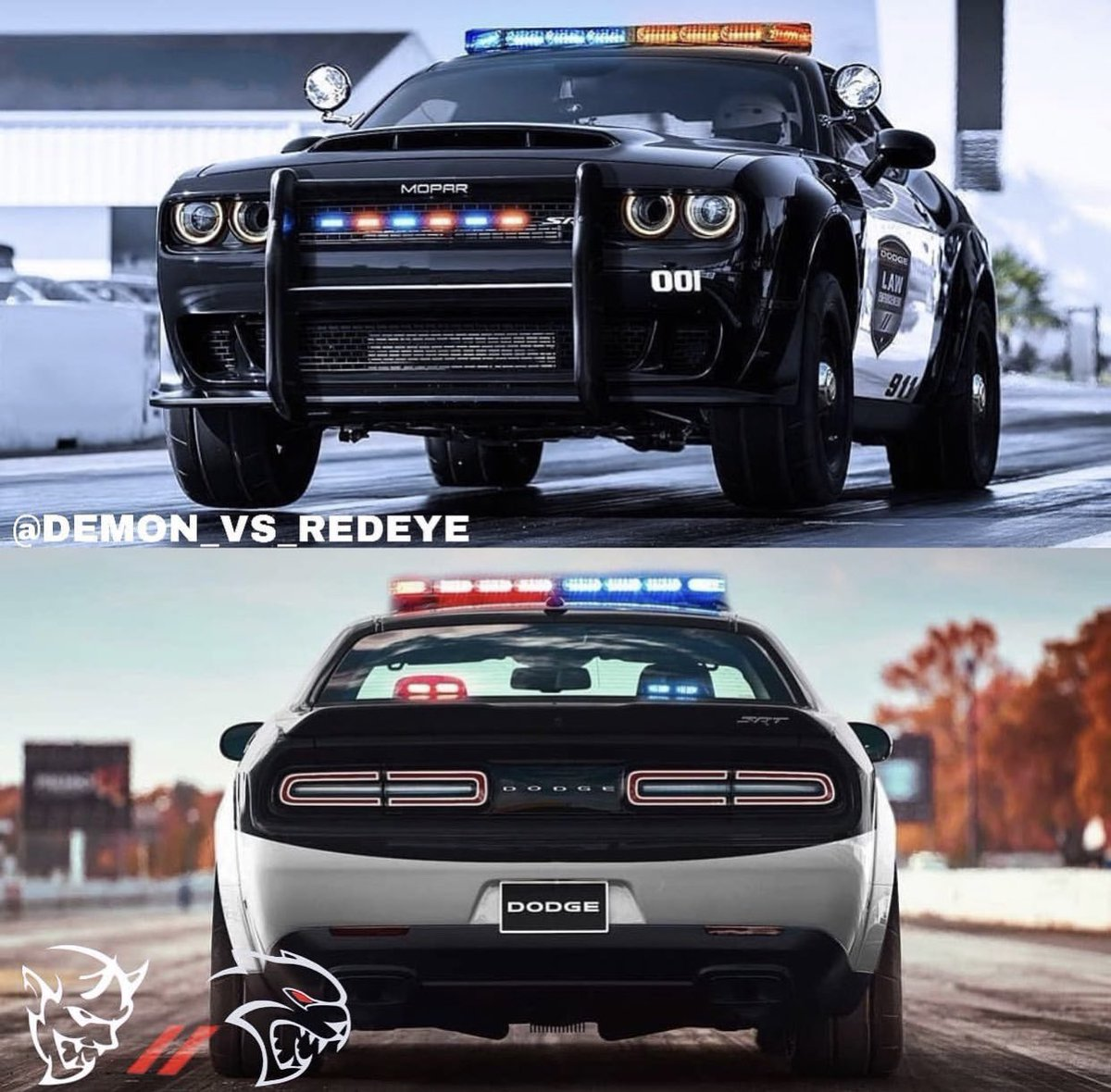 An 840hp wheelie popping Dodge SRT Demon Police Pursuit would be sweet! Just try to run!   #MoparOrNoCar #MoparChat<br>http://pic.twitter.com/j2lYaCwk63