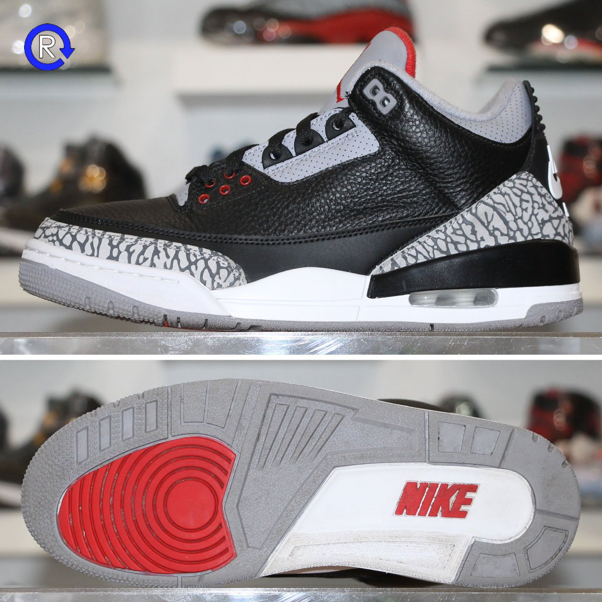 Size 8.5, 9 Black Cement Air Jordan 3 OG (2018) / $200 / Available now in-store and online. Open Mon-Sat 12-6PM. 5450 Penn Ave. Pittsburgh PA 15206. RefreshPGH.com.