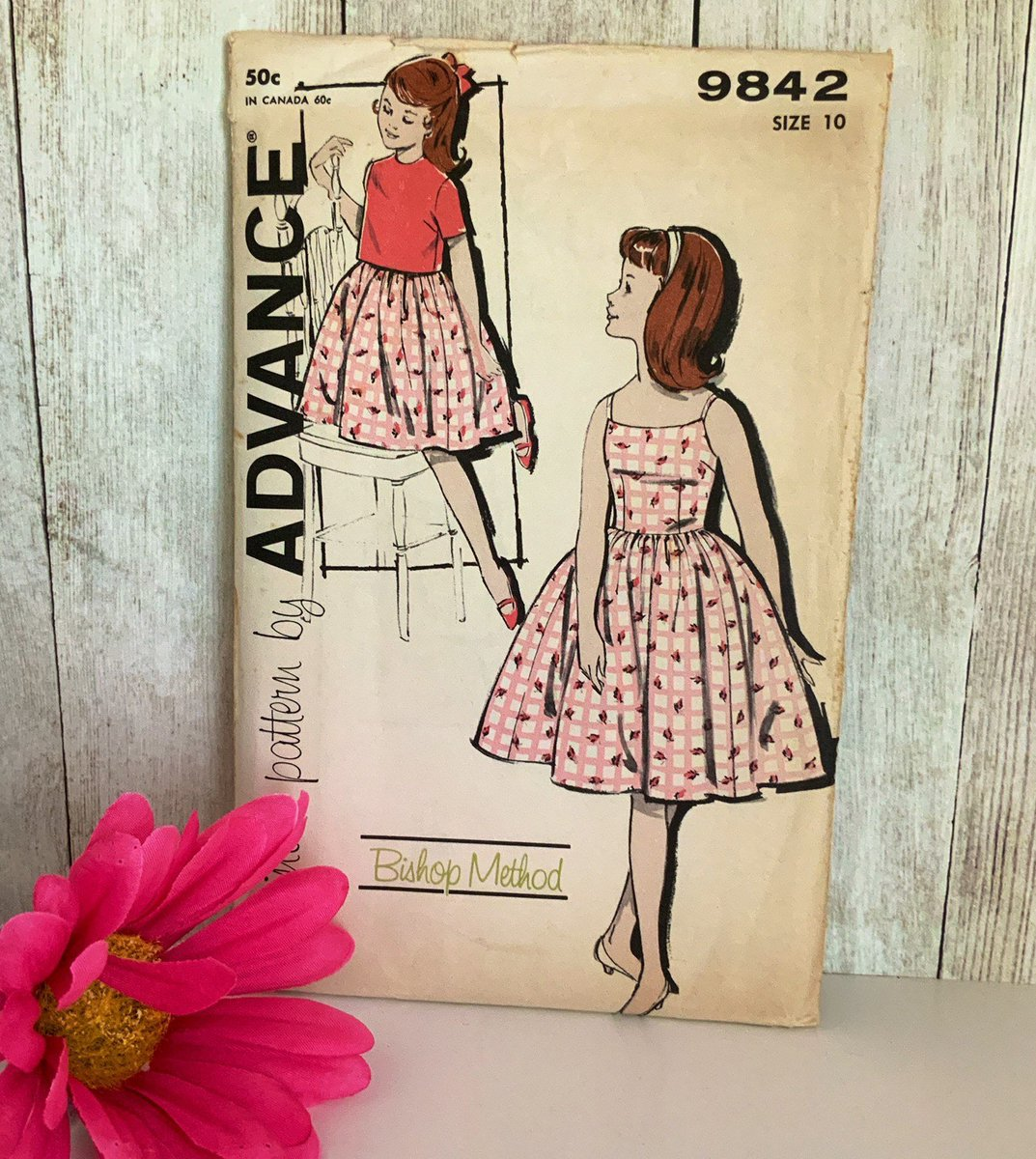 Vintage Advance 9842 Sewing Pattern, 1950s Girl Dress Pattern, Vintage Sewing #etsy #supplies #independenceday #sewing #birthday #fashionillustration #50sdress #girlsdress #advancepattern #girlssewingpattern etsy.me/32GyfBZ