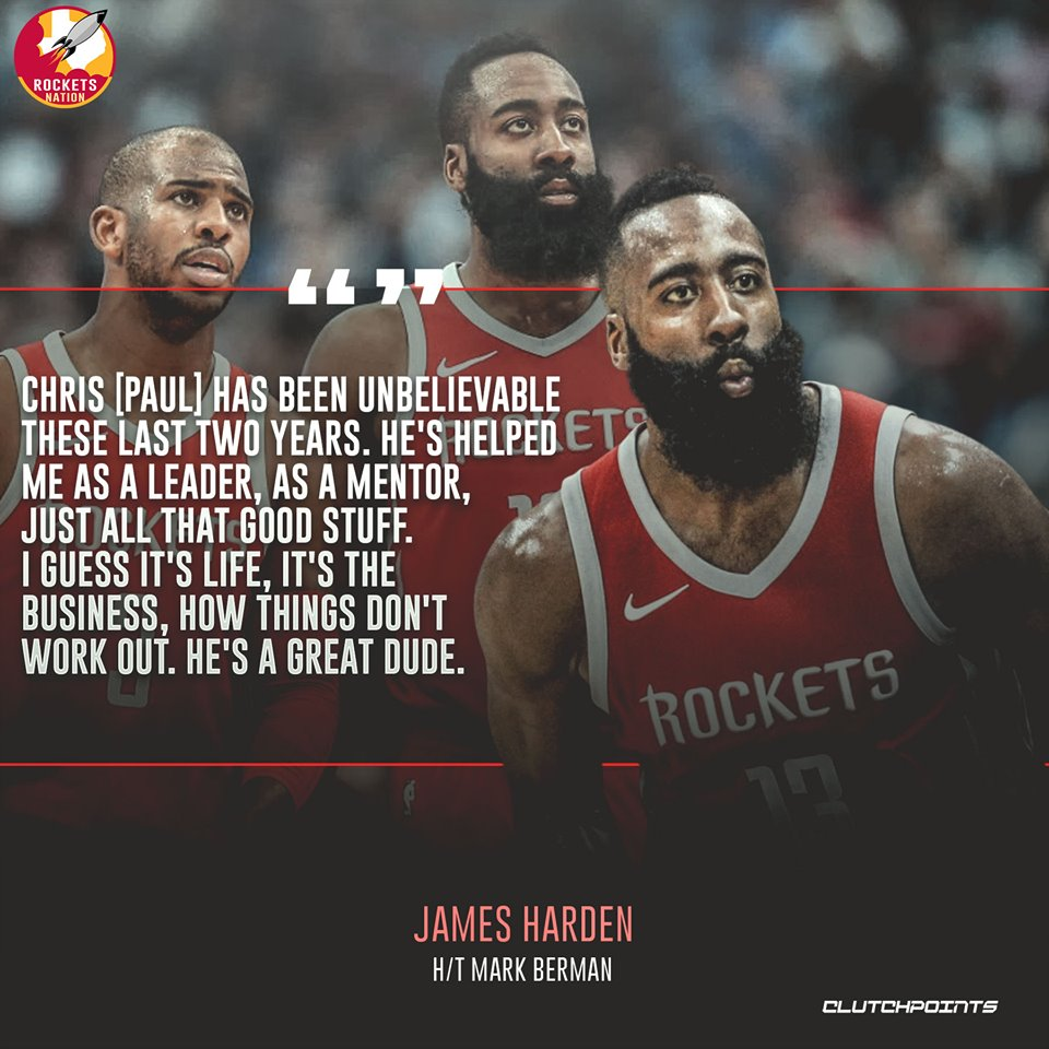 James Harden has some nice words to say about Chris Paul that should put all the rumors to rest 💯  #Rockets #RunAsOne