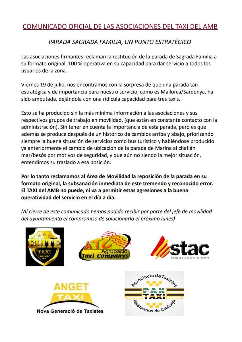 ‼️#COMUNICADO OFICIAL ASOCIACIONES #TAXIAMB‼️ Parada de #taxis #SagradaFamilia @Elite_TaxiBcn @taxi_companys @sindicatdeltaxi @ANGETtaxi @paktaxii unidos por su reposición original y por el cese de las decisiones unilaterales en @BCN_Mobilitat #BASTAYA #Taxienlucha 💪🏼🚖