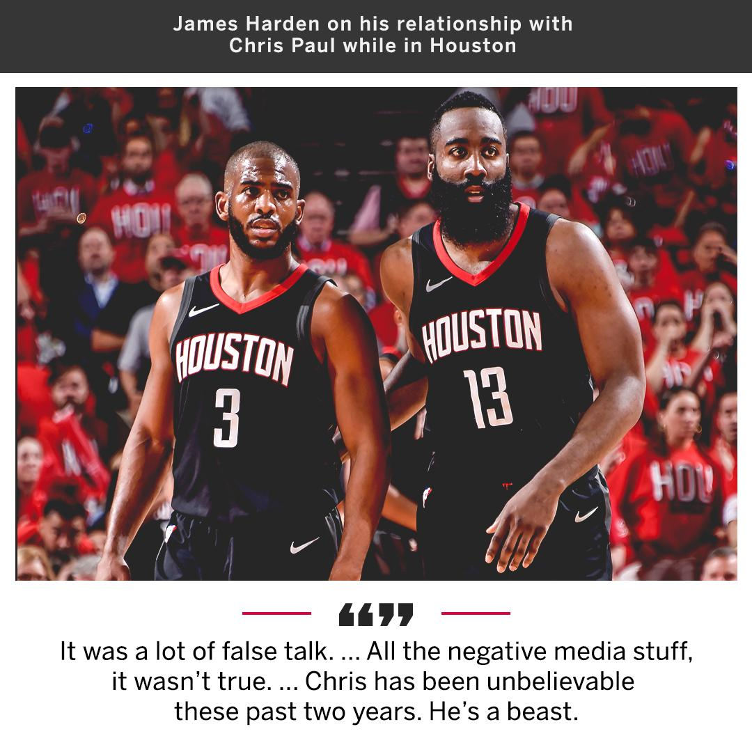 James Harden says the reports that he and Chris Paul had tension were false.