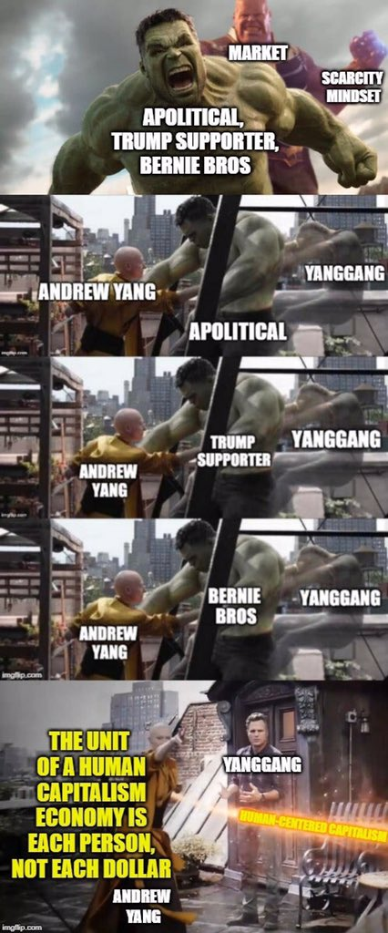 Lol at Bernie bringing in others from the right. He's afraid of Ben Shapiro, Ruben, and Rogan. #yanggang #AndrewYang2020