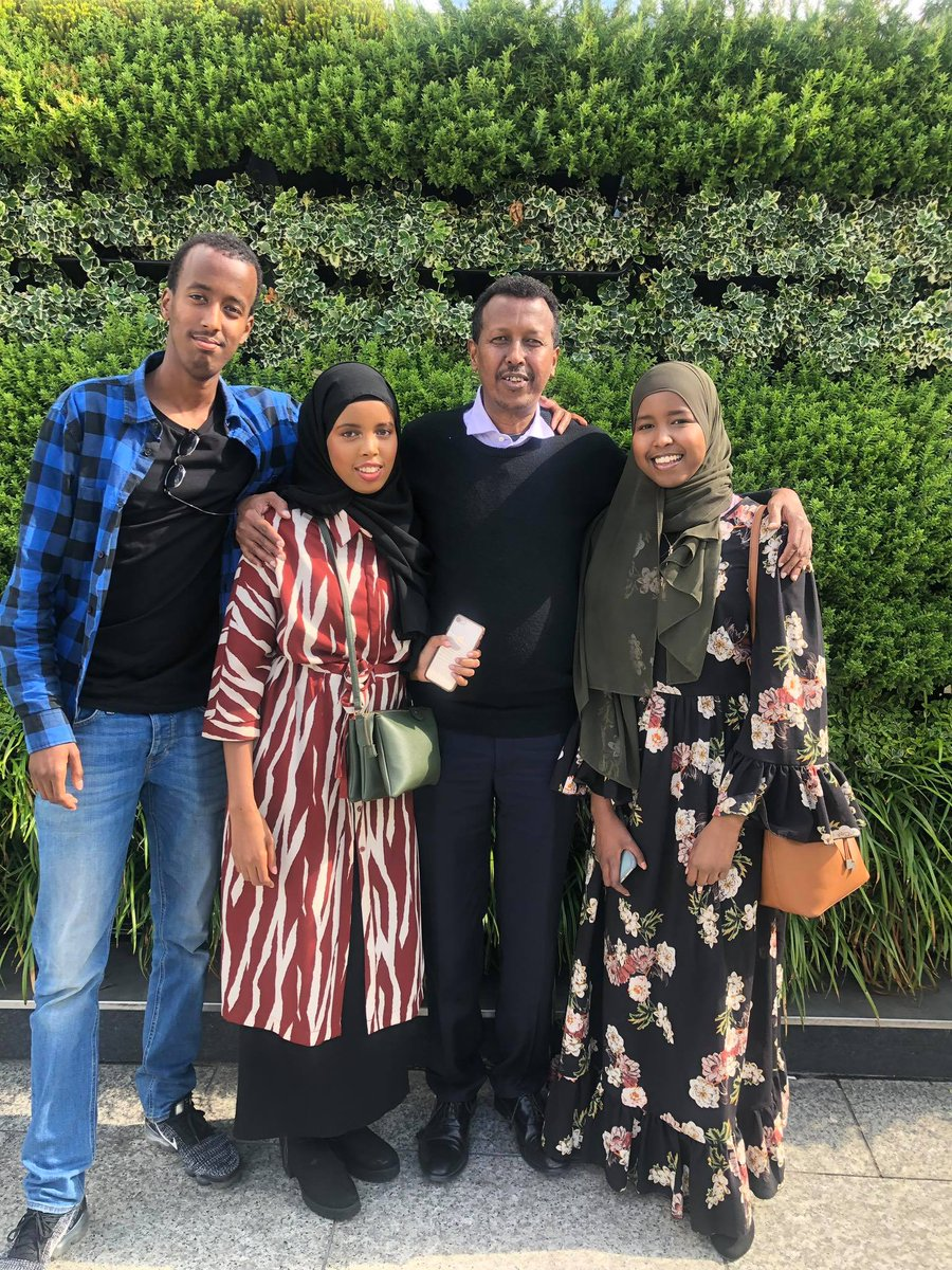 Enjoying a great English summer afternoon with two of my three daughters and son in West London. From right: Salma YG, a brilliant Law student; YG, an old man; Yasmin, much loved science teacher at Secondary School and the creative Skinny Mo, a software Engineer. #Somalia