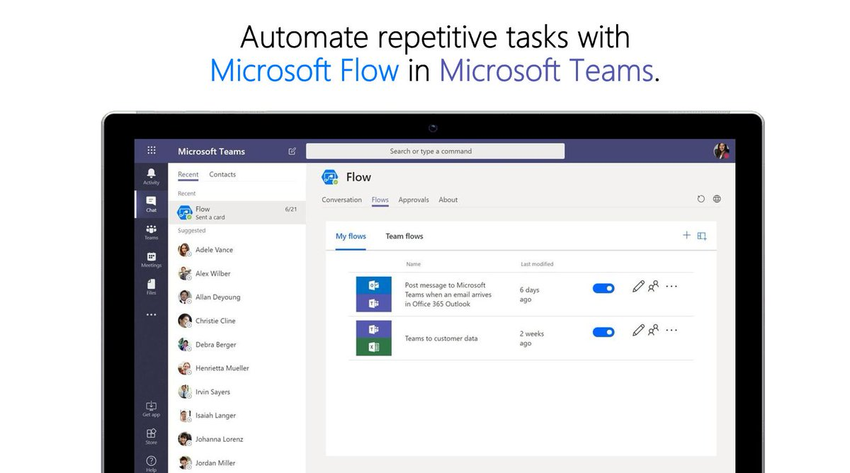 Explore how you can use @MicrosoftFlow in #MicrosoftTeams to build custom workflows to automate repetitive, time-consuming tasks. http://msft.social/RP95sZ