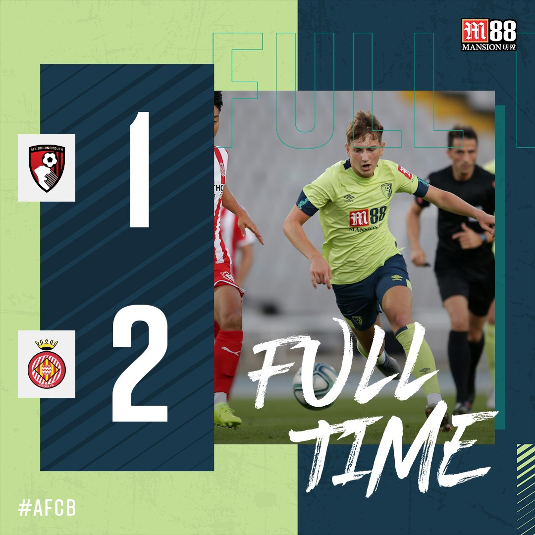 Our pre-season training camp in Spain ends with a narrow defeat against @GironaFC. Fraser with our goal, as #afcb end the game with ten men following Simpsons red card. #BOUGIR