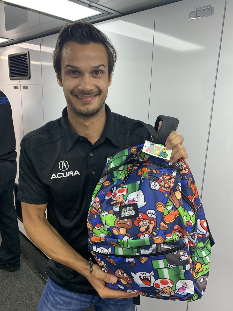 You think 'Super @MarioFarnbacher' new backpack will bring him some extra luck? #NortheastGP