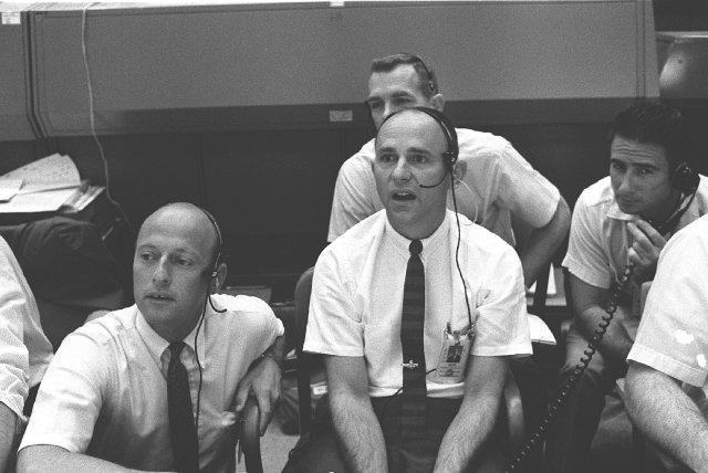 """As the Eagle landed at Tranquility Base #now, everyone in Mission Control held their breath- including the Apollo 12 crew.   CAPCOM Charlie Duke: """"Roger, Tranquility. We copy you on the ground. You got a bunch of guys about to turn blue. We're breathing again..."""" #Apollo50th"""