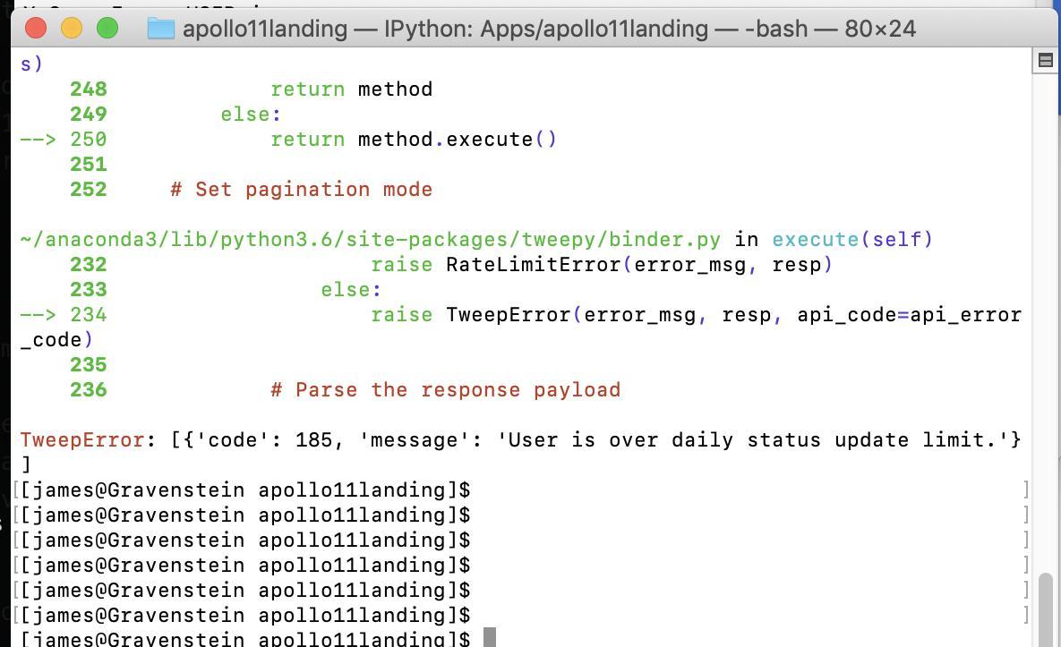 Tweepy rate limit error