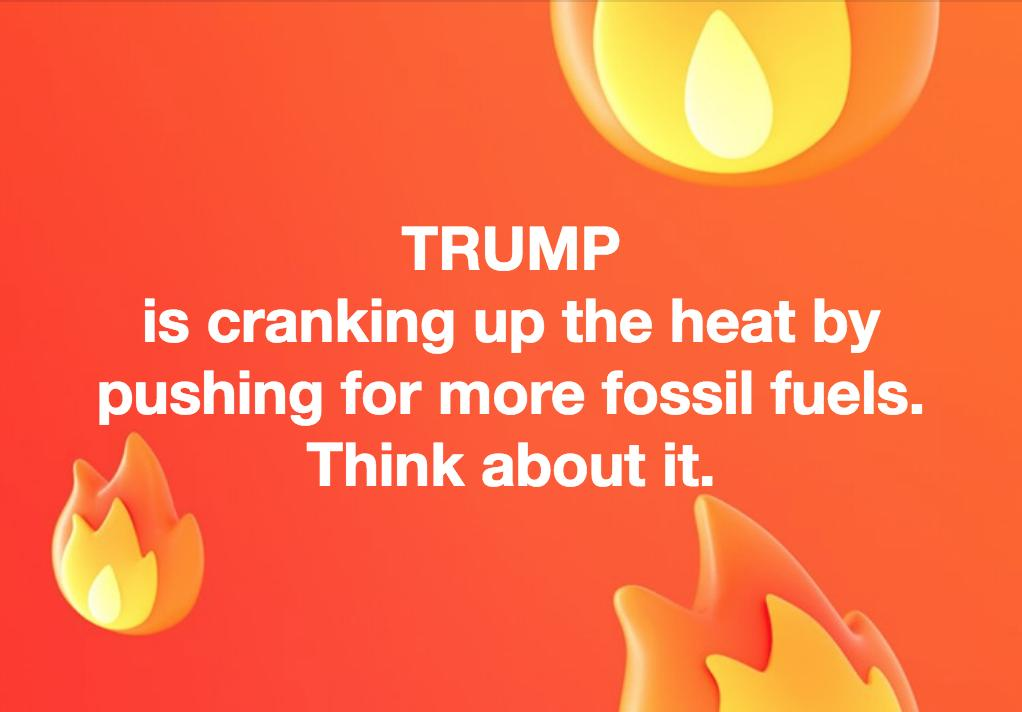 .@realDonaldTrump is the Earth's #1 #climate threat right now. He's helping the #FossilFuel industry expand to fry us while he cranks up the AC and he wants you to sizzle quietly, restricting your right to protest. #HeatWave #ClimateEmergency #Election2020 #NHpolitics #RESIST