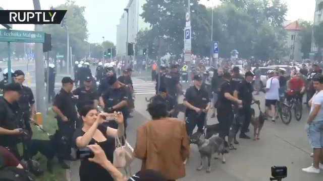 Hundreds attempt to disrupt first-ever LGBT pride parade in #Poland