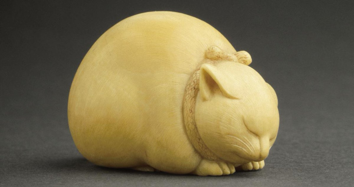 """Happy #Caturday from this chonk. 🐾 Collection highlight: """"Sleeping Cat,"""" Kaigyokusai (Masatsugu), mid-to late 19th century."""