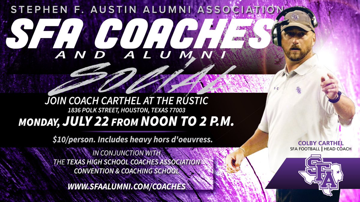 Looking forward to seeing all the @SFASU alumni down at @THSCAcoaches Coaching School! Please share this flyer with any old Lumberjacks you know headed down to Houston this week...#AxeEm #BelieveInTheVision<br>http://pic.twitter.com/FnWRqaPfaE