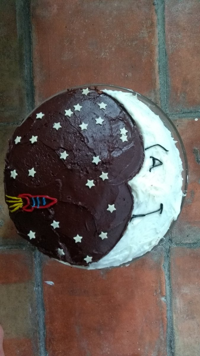 In honour of the #MoonLanding50  years ago, I made this cake for the village BBQ. <br>http://pic.twitter.com/2YfCrhemQP