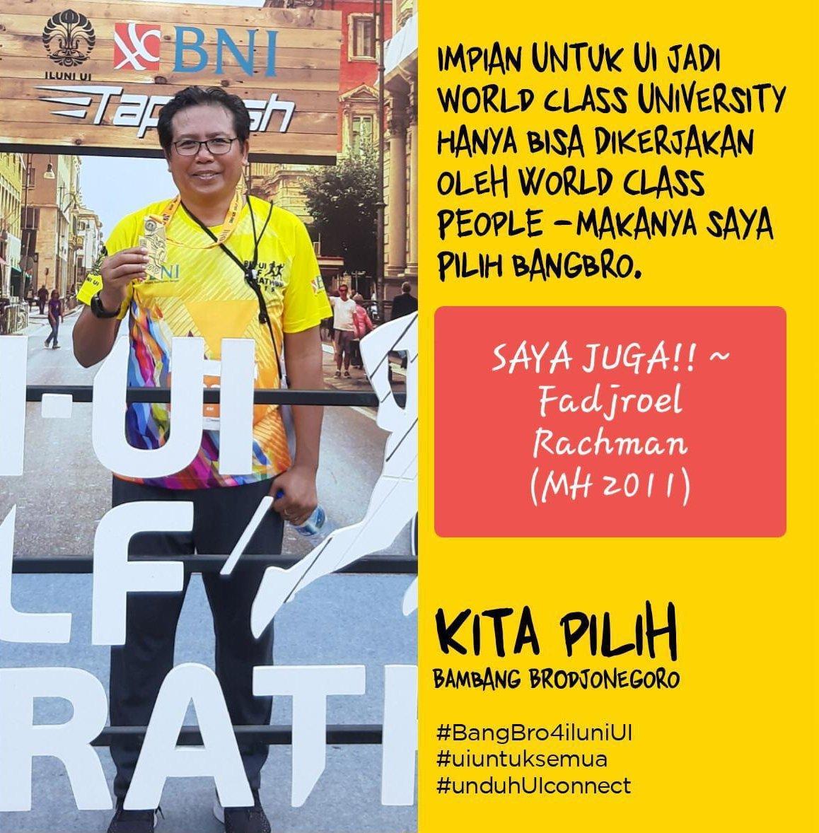 Yuk kita berjuang bersama #BangBro menjadikan ILUNI UI sebagai Ikatan Alumni kelas dunia! @BangBro4ILUNI @Ilunifebui @iluniui_ @ILUNIFISIPUI @ILUNI_FHUI @univ_indonesia @UI_library