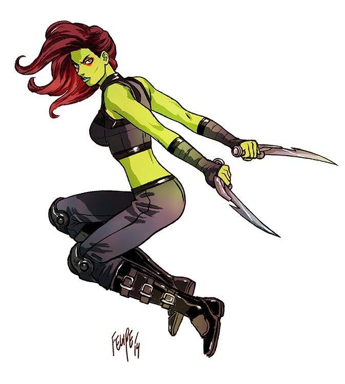 💚Marvel Green Ladies: 3 Gamoras & a She-Hulk 💚#ItAintEasyBeingGreen #GuardiansOfTheGalaxy #SheHulk #Gamora #Avengers #JenniferWalters #FelipeSmithArt