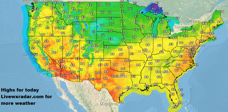 Highs for today.   See your temps and weather radar at     http://www.weather.pub       #wx #weather  #lows #flooding  #temps  #warmer #nice  #cooling #storm #rain #cold  #hot    #humid #muggy #Nasty  #highs  #Sunday #daytime #heatwave
