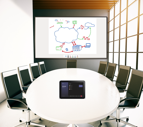 #MicrosoftTeamsRooms can now receive and render Microsoft Whiteboard on the front of the room displays. Read more about it here: http://msft.social/fRlhKM