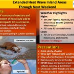 Image for the Tweet beginning: Extended heat wave with elevated
