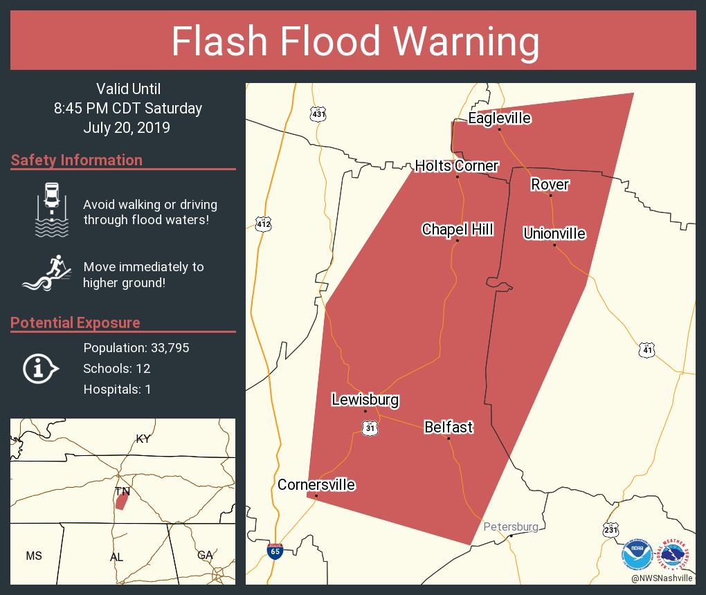 Flash Flood Warning including Lewisburg TN, Chapel Hill TN, Unionville TN until 8:45 PM CDT https://t.co/aPaMnARiCB