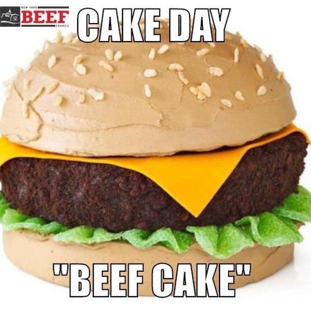 The only cake on Cake Day!  #nybeef #beeftogether #cakeday #cake #beefcake #cakelover #burgerlover #happybirthday #birthdaycake #celebration #caketime #icecreamandcake  #dessert #bakery #weddingcake #instacake #cakeart #cakeoftheday #baking #cakede… https://ift.tt/30LQPXW