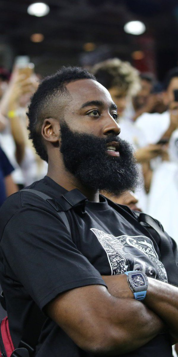 NBA star James Harden watching the game. #FCBRMA