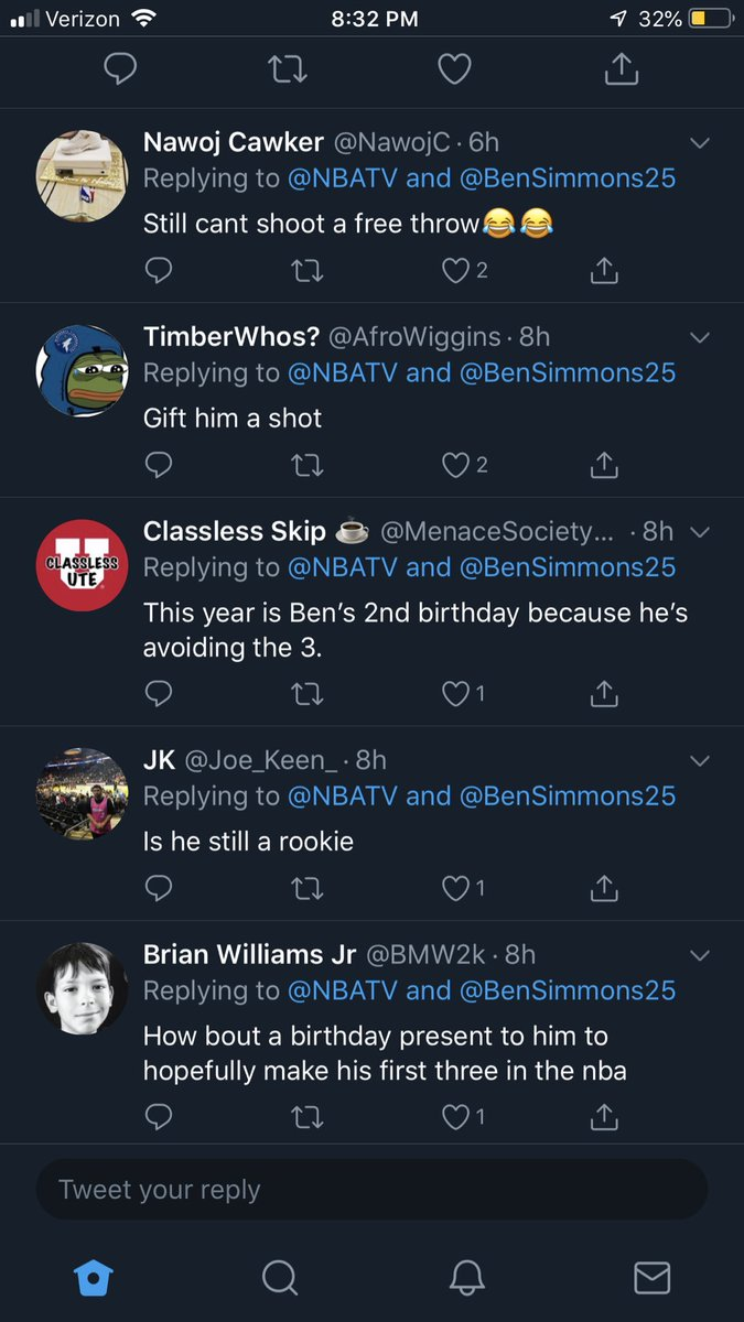 This was the comment section of @NBATV's tweet wishing Ben a Happy Birthday.  Rent free, folks. Its actually quite comical 🤡🤡🤡