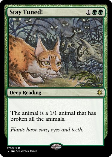 """Waiting in the Weeds (by Susan Van Camp) is the only card with the word """"wait"""" or """"waiting"""" in its name, so I figured it was right to commemorate our wait for #mtgeldraine information. #GoogleTranslatesMTG #SDCC2019 @RosewattaStone   Original:  https:// scryfall.com/card/6ed/266/w aiting-in-the-weeds  … <br>http://pic.twitter.com/WR5H1YzR13"""