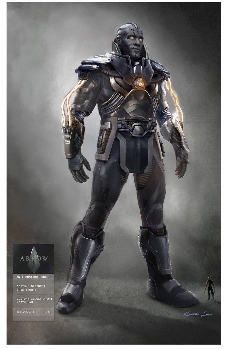 Arte conceitual do novo traje do Anti-Monitor para o crossover de crises em infinitas terras. #CrisisOfInfiniteEarths #ArrowVerse #Arrow #Flash #Supergirl #LegendsOfTomorrow #Batwoman #SDCC #SDCC19 #SDCC2019