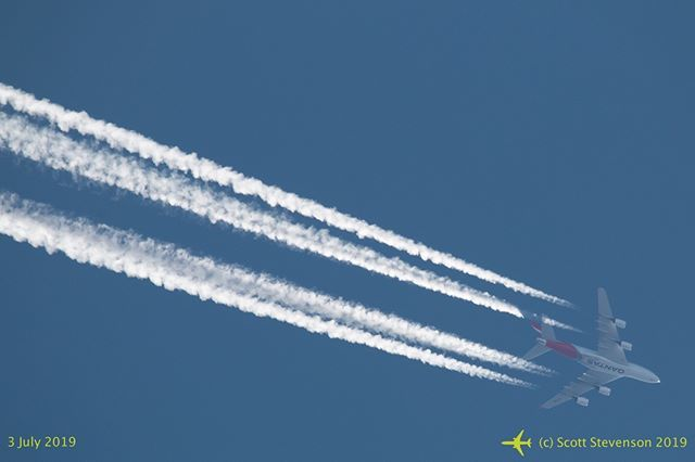 """@qantas #airbus A380-842 VH-OQK """"John and Reginald Duigan"""" passes high overhead Canberra on a clear Winter's day - operating QF93 to Los Angeles. #avgeek #FlyCBR #PlaneSpotter #WeMakeItFly #a380 #a380lovers #a380_800 #vhoqk #LAX #FlyLAX #aviation #instagramaviation"""