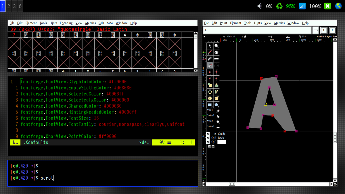 Working on a dark mode theme for FontForge.