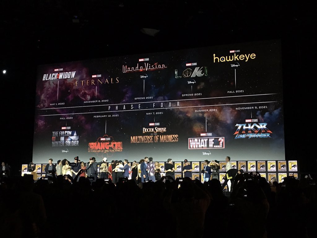 BLACK WIDOW ETERNALS FALCON AND WINTER SOLIDER SHANG CHI WANDAVISION LOKI DOCTOR STRANGE IN THE MULTIVERSE OF MADNESS WHAT IF THOR LOVE AND THUNDER CAPTAIN MARVEL 2 BLACK PANTHER 2 X-MEN FANTASTIC FOUR BLADE GUARDIANS OF THE GALAXY 3 #MarvelSDCC #SDCC2019 #SDCC https://t.co/ah6JJV1XrY